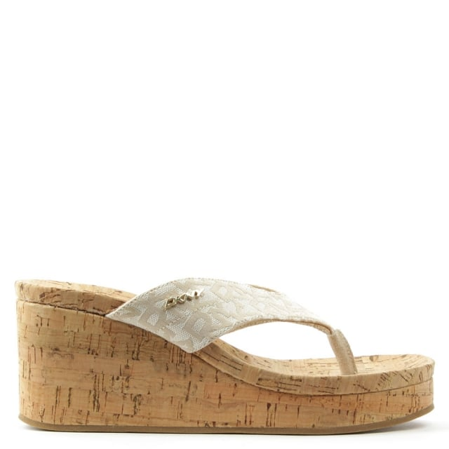 Lisa Beige Jacquard Logo Wedge Toe Post Sandal