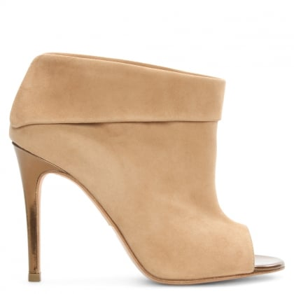 Lisa Beige Suede Fold Over Shoe Boot