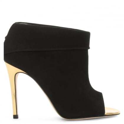 Lisa Black Suede Fold Over Shoe Boot