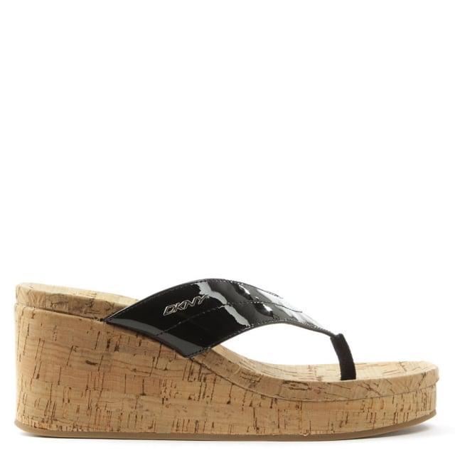 Dkny Lisa Black Wedge Patent Toe Post Sandal