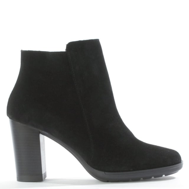 Lisianthus Black Suede Square Toe Ankle Boot