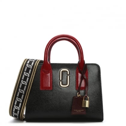 Little Big Shot Black Leather Two Tone Tote Bag