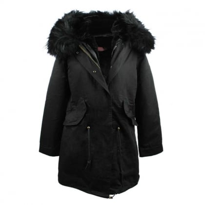 Black Fur Lined Hooded Parka