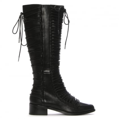 Liverpool Black Leather Lace Trim Knee Boots