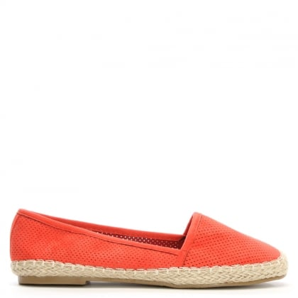 Lizeth Red Suedette Perforated Espadrille Pump