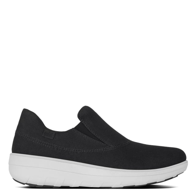 Loaff Black Canvas Sporty Slip On Sneaker