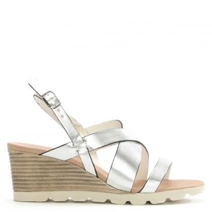 Lobelia Silver Leather Strappy Sling Back Wedge Sandal