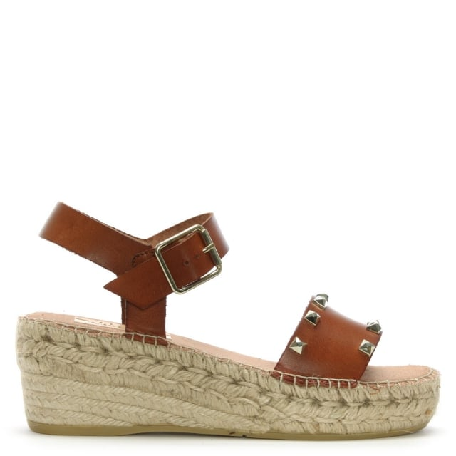 Lockhart Tan Leather Studded Low Wedge Espadrilles