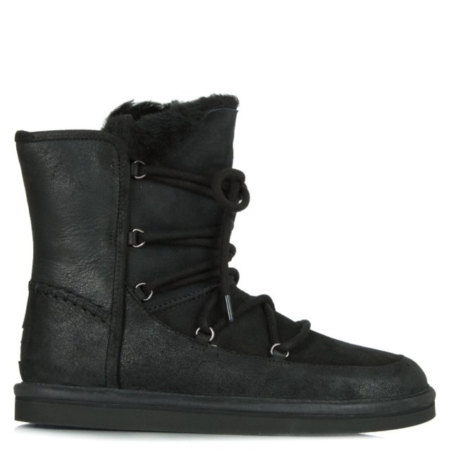 Lodge Black Water Resistant Leather Short Lace Up Boot