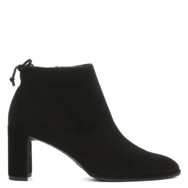 Lofty Black Suede Tie Back Ankle Boot