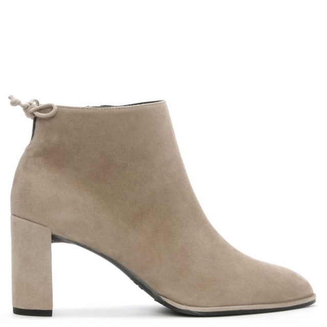 Stuart Weitzman Lofty Grey Suede Tie Back Ankle Boot