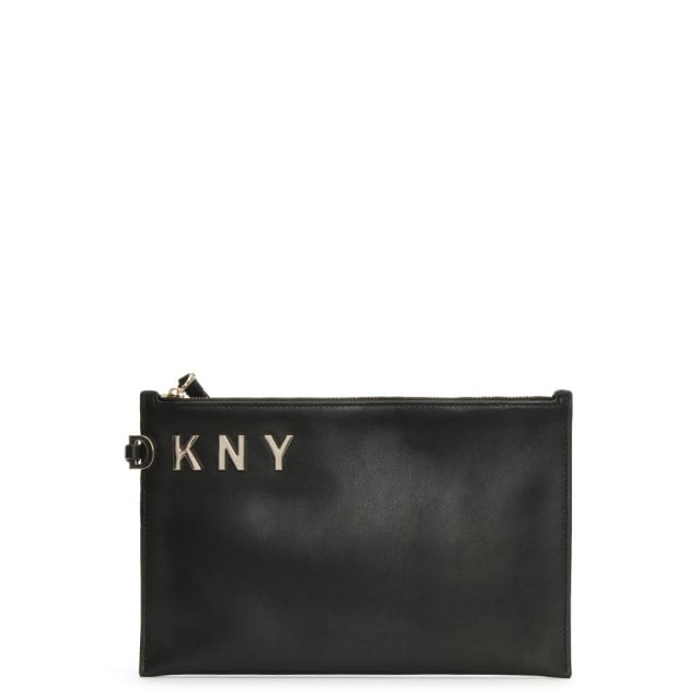 Logo Black Smooth Leather Pouch