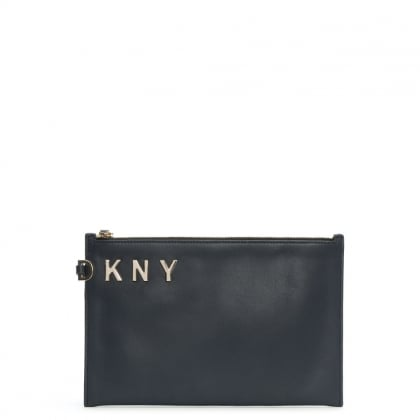 Logo Navy Smooth Leather Pouch