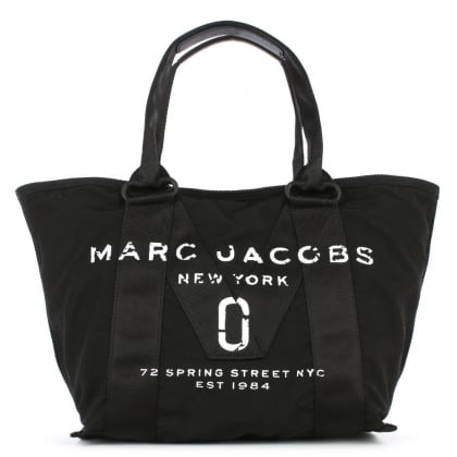 Logo Printed Black Nylon Tote Bag