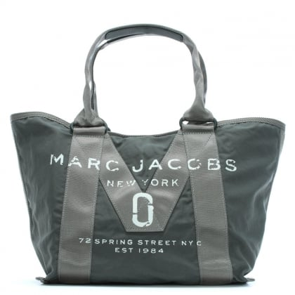Logo Printed Graphite Nylon Tote Bag