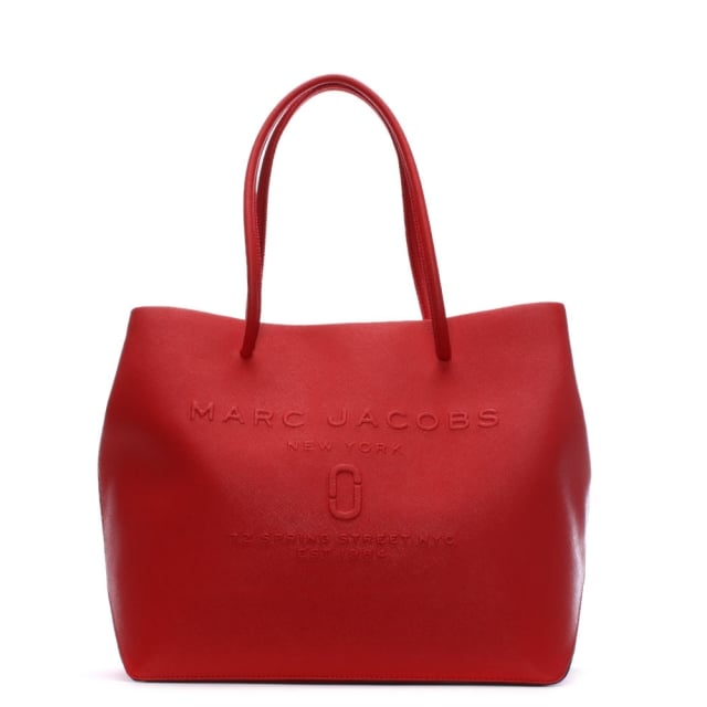 Logo Red Pepper Saffiano Leather East West Shopper Bag