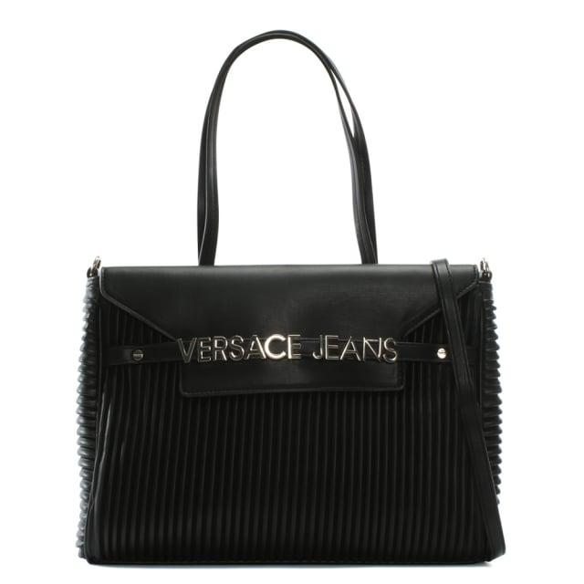 Versace Jeans Logo Smart Black Pinstripe Quilted Shoulder Bag