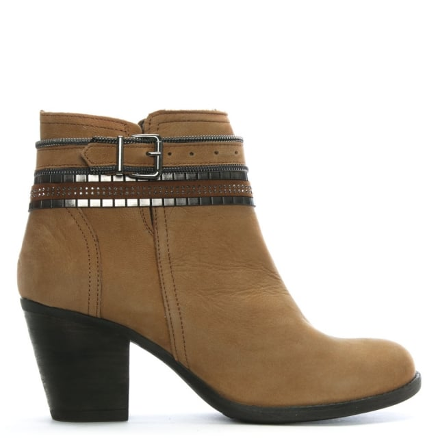 Loki Tan Leather Chain Ankle Boot