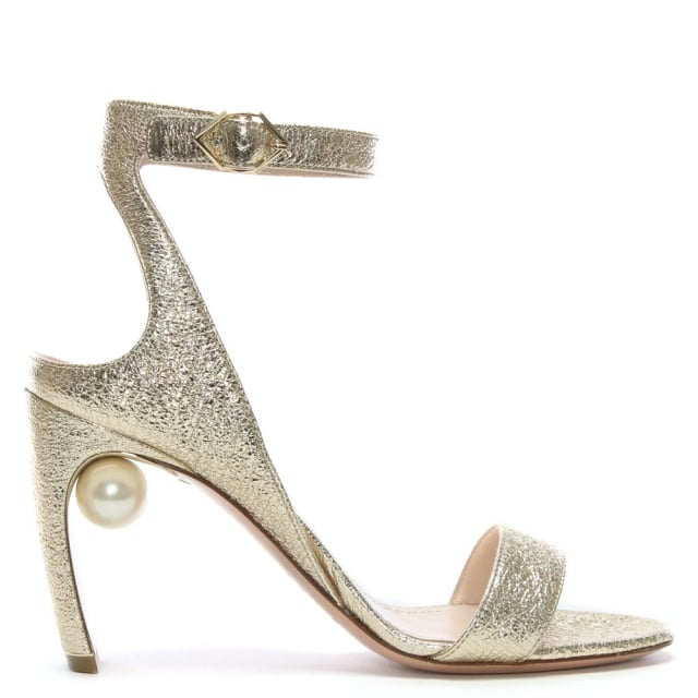 Lola 90 Pearl Gold Metallic Leather Ankle Strap Sandals