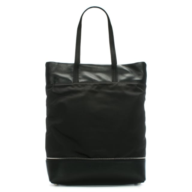 Lola Black Leather & Canvas Shopper Bag