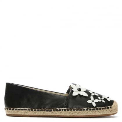Lola Black Leather Flower Embellished Espadrille
