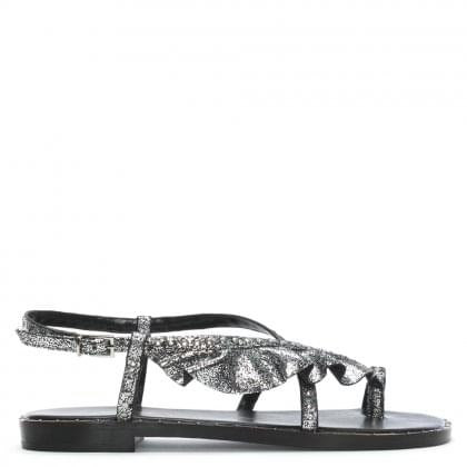 Arrowroot Silver Metallic Leather Studded Frill Sandals