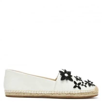 Lola White Leather Flower Embellished Espadrille