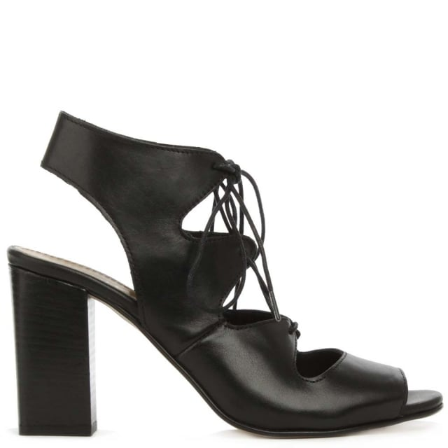 Long Beach Black Leather Lace Up Block Heel Sandal