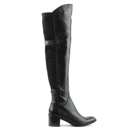 Lorelei Black Leather Two Strap Over The Knee Boot