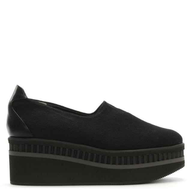 Lotes Black Fabric Flatform Loafers