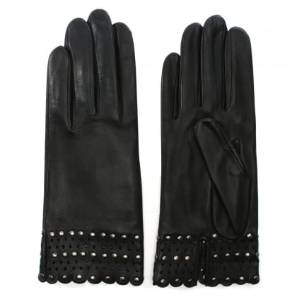 Lou Black Leather Laser Cut Studded Gloves
