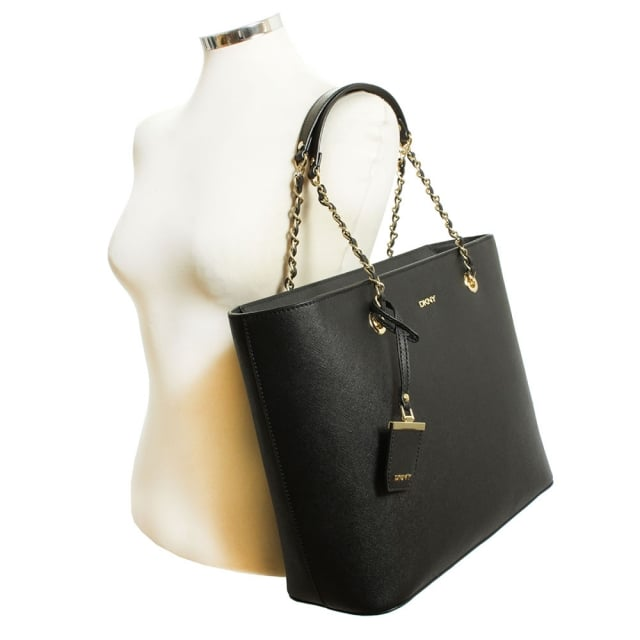 61308e1237 DKNY Louise Black Leather Chain Handle Shoulder Bag