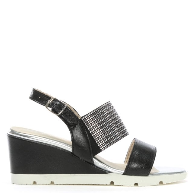 Lovell Black Leather Jewelled Sling Back Wedge Sandals