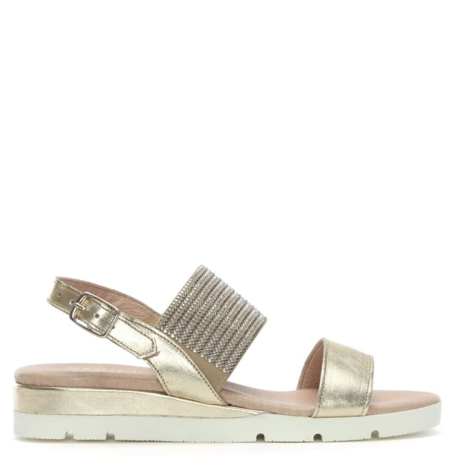 Lovell Gold Metallic Leather Jewelled Sling Back Sandals