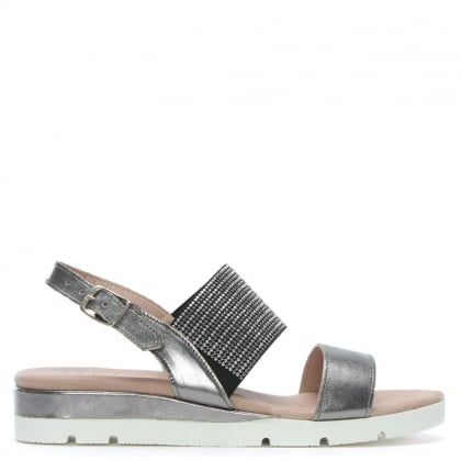 Lovell Pewter Metallic Leather Jewelled Sling Back Sandals