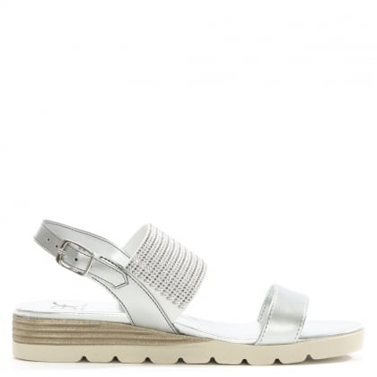 Lovell Silver Leather Jewelled Sling Back Sandal