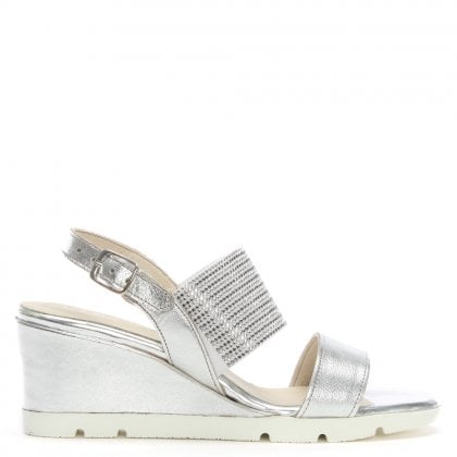 Lovell Silver Leather Jewelled Sling Back Wedge Sandals