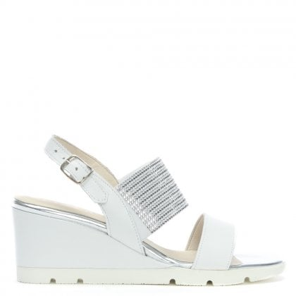Lovell White Leather Jewelled Sling Back Wedge Sandals