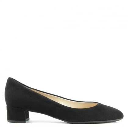 Hogl Low Block Heel Black Suede Court Shoe
