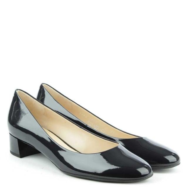 Hogl Low Block Heel Navy Patent Court Shoe