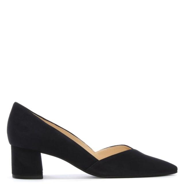 1135713cf5 Hogl Low Block Heel Navy Suede Court Shoes
