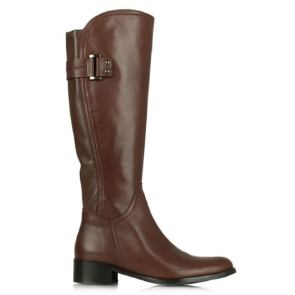 Loyalty Tan Leather Knee Length Flat Boot