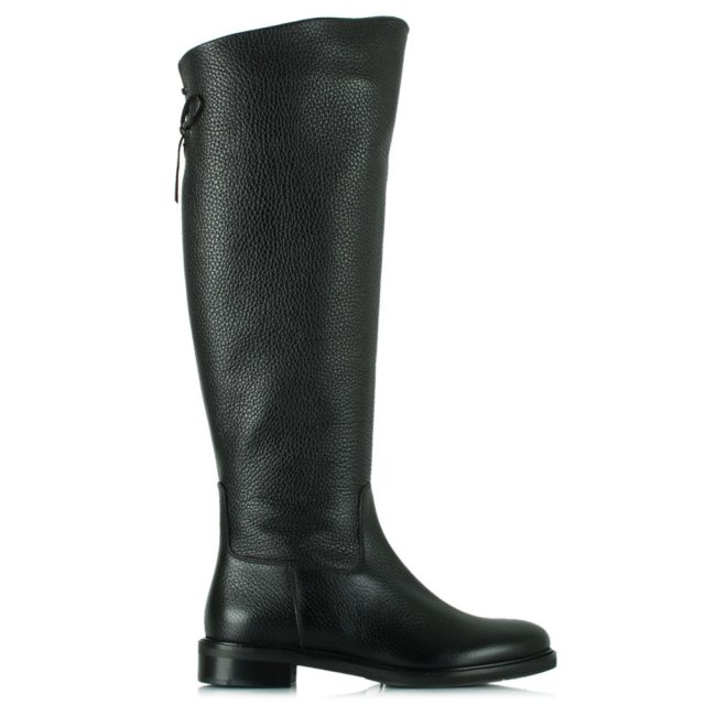Luca 12 Black Leather Flat Knee High Boot