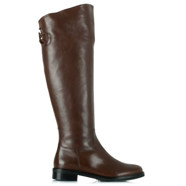 Luca 12 Tan Leather Flat Knee High Boot