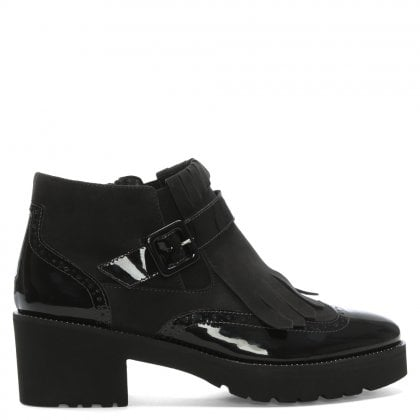 Rwanda Black Patent Leather Fringed Ankle Boots