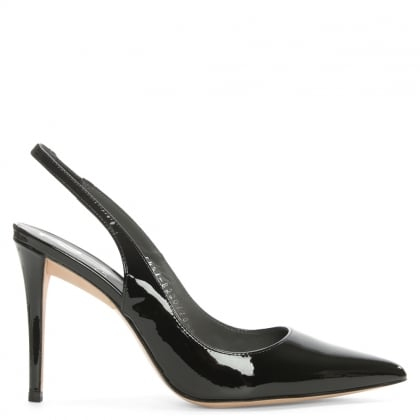 Lucina Black Patent Leather Sling Back Court Shoe