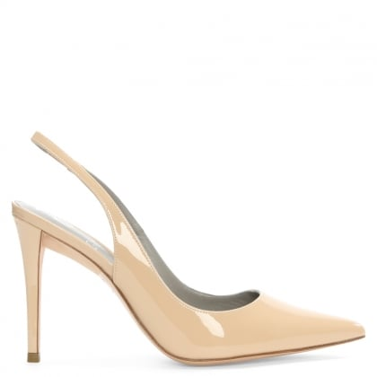 Lucina Nude Patent Leather Sling Back Court Shoe