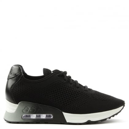 Lucky Black Leather & Woven Trainer