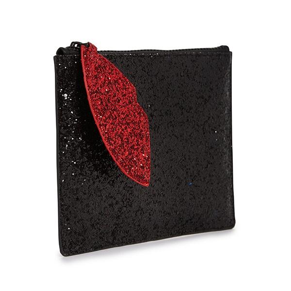 84090f33a91c Lulu Guinness Black Glitter Cut Out Lip Pouch