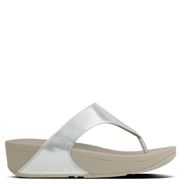 ca3f2e7657625 FitFlop Lulu Mirror Silver Toe Post Flip Flops